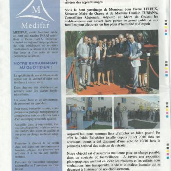 Medifar-Palais-Belvédère-Alpes-Maritimes-Grasse-Article de presse-Nice-Matin-4