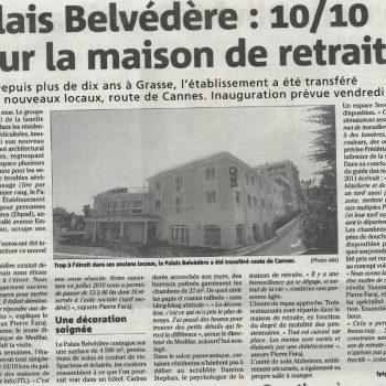 Medifar-Palais-Belvédère-Alpes-Maritimes-Grasse-Article de presse-Nice-Matin-7